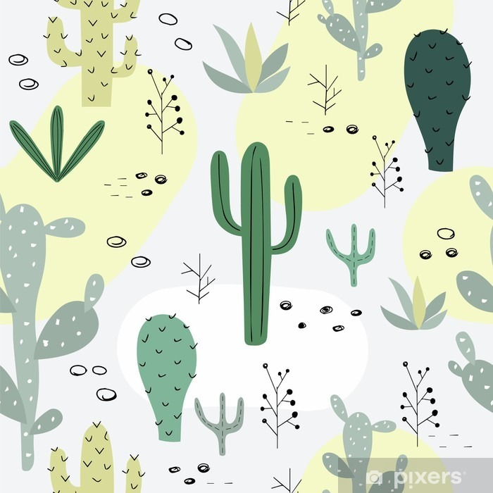 Seamless pattern with succulents. Fridge Sticker - Plants and Flowers