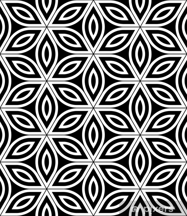 Vector Modern Seamless Sacred Geometry Pattern Black And White Abstract Geometric Flower Of Life Background Wallpaper Print Monochrome Retro