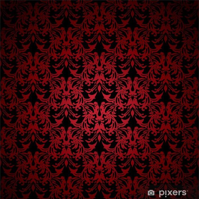 Carta Da Parati In Vinile Rosso E Nero Floreale Ispirato Sfondo Che Senza Soluzione Di Continuità Piastrelle
