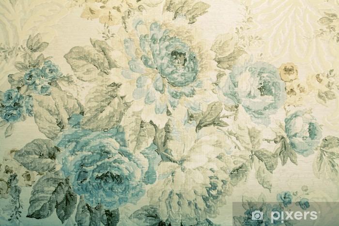Pixerstick Sticker Uitstekend behang met blauwe bloemen Victoriaanse patroon - Grafische Bronnen