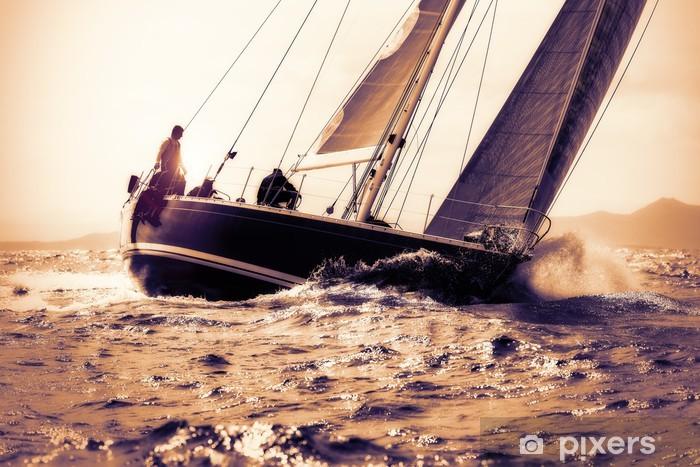 sail boat sailing on sunset Vinyl Wall Mural - Water Sports