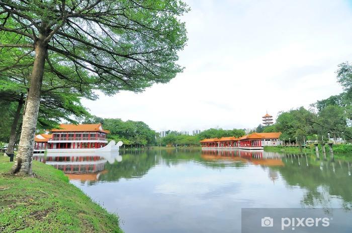 Vinyl Fotobehang Chinese tuin tempel, Singapore - Openbare Gebouwen