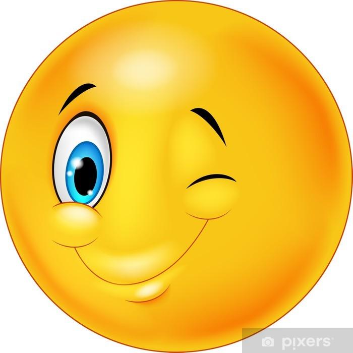Glad smilende smiley med øjnene blinkende Fototapet • Pixers® - Vi lever for forandringer