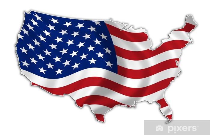 Vinyl Fotobehang USA vlag kaart high res - Ruimte