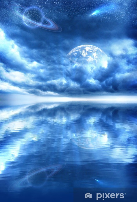 Vinilo para Nevera Estrella fugaz, espacio, agua, nubes, estrellas, tierra, planeta -