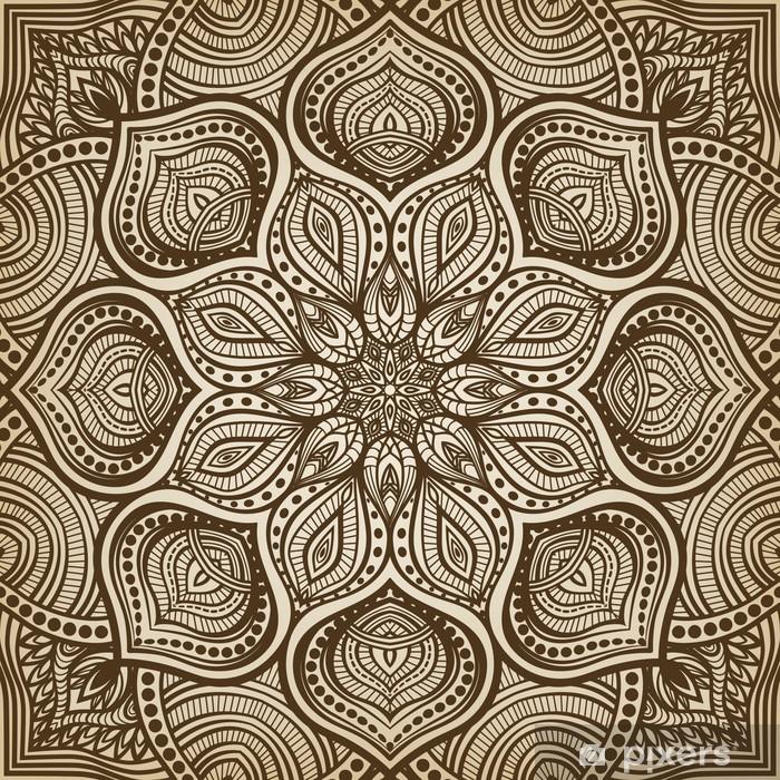 Fototapeta winylowa Mandala. brązowy okrągły wzór tła - Tła