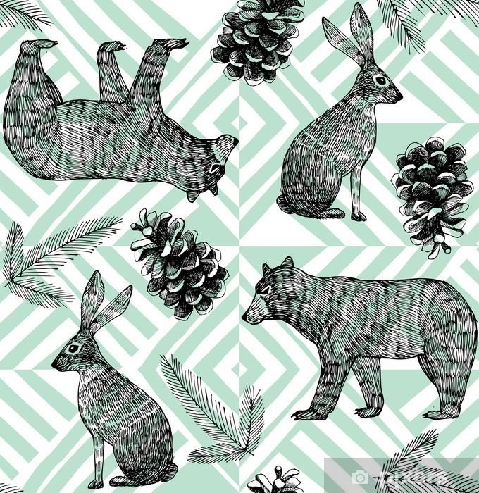 Pixerstick Sticker Handgetekende winter trendy patroon, geometrische achtergrond - Dieren