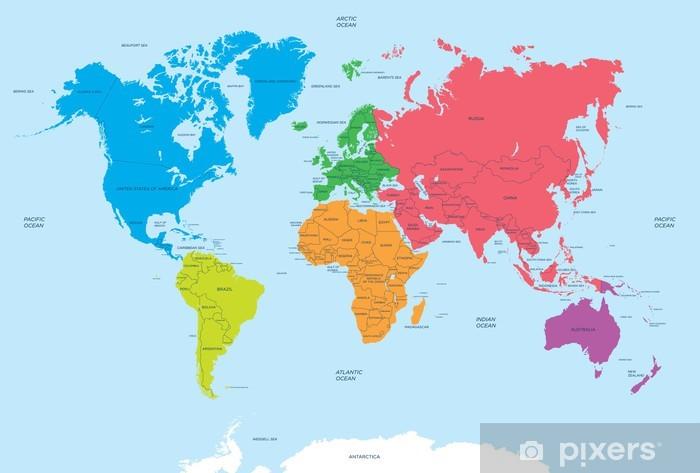 Verdens Kontinenter Og Politiske Kort Fototapet Pixers Vi