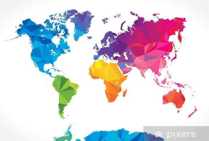 Fotomural Estándar Bajo mapa del mundo poli - Abstractos