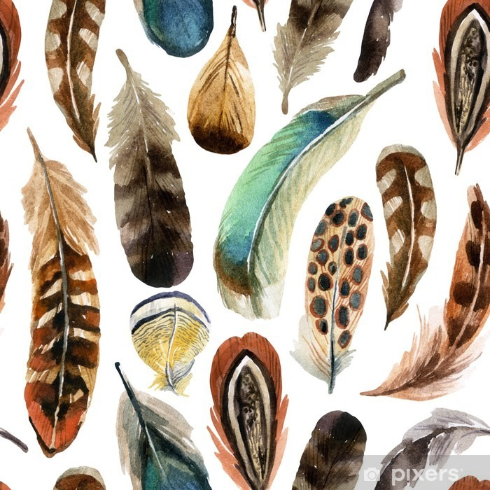 watercolor feather background Self-Adhesive Wall Mural - Animals