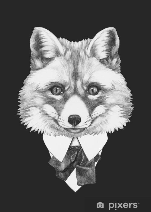Vinyl Fotobehang Portret van Fox in kostuum. Hand getrokken illustratie. - iStaging