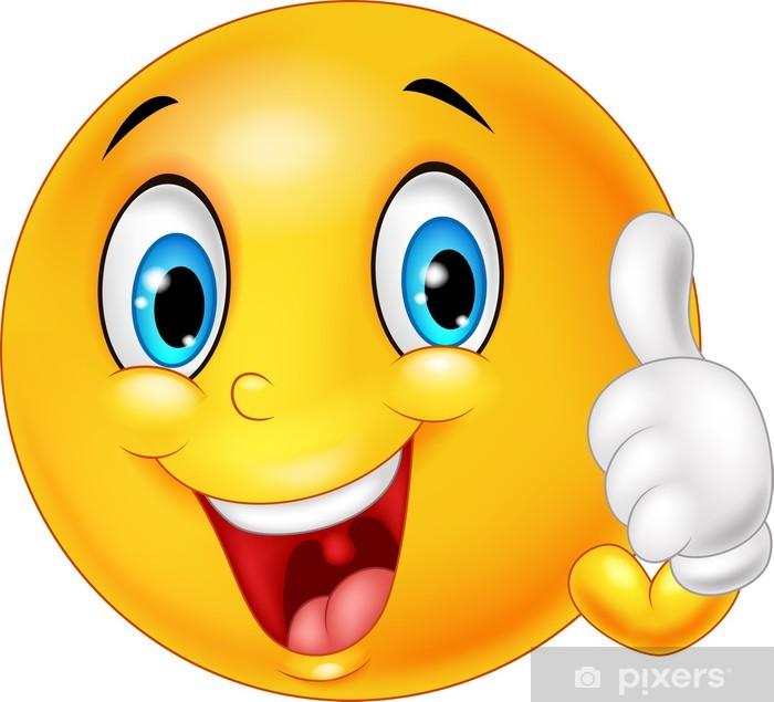 Plakát Šťastný smajlík dává palec nahoru na bílém pozadí • Pixers® • Žijeme pro změnu