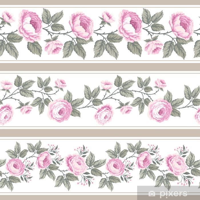 Afwasbaar Fotobehang Set van naadloze bloemen grenzen met rozen - Bloemen en Planten