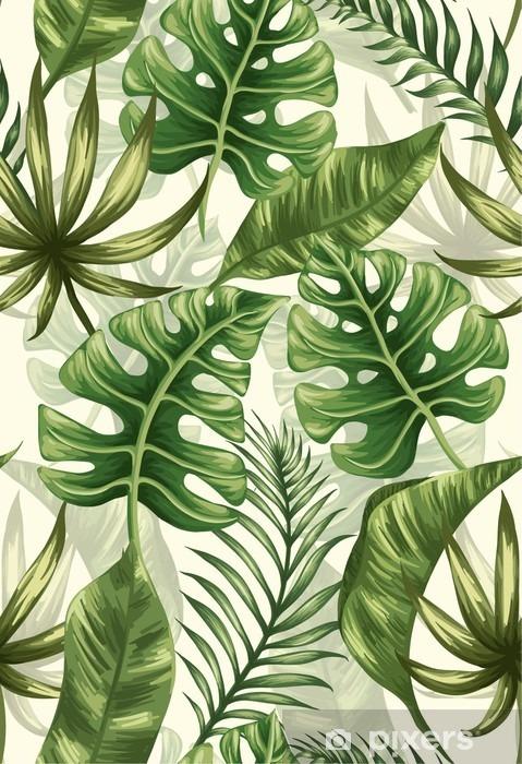 Mural de Parede em Vinil Folhas padrão - Plantas e Flores