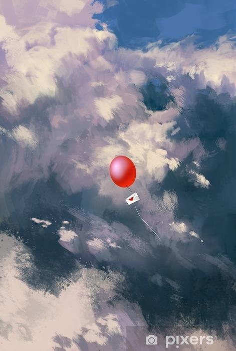 Zelfklevend Fotobehang Rode ballon met liefdesbrief envelop zwevend door de wolken, illustratie schilderij - Landschappen
