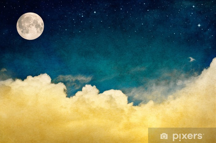 Pixerstick-klistremerke Fullmåne og Cloudscape - Lanskap
