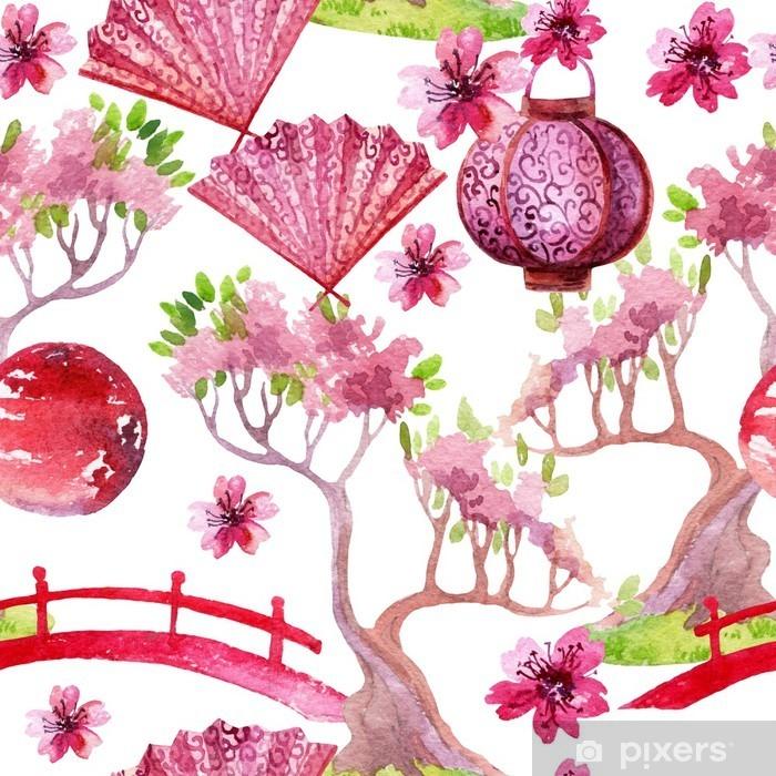Papier peint vinyle Seamless japonais - Voyages