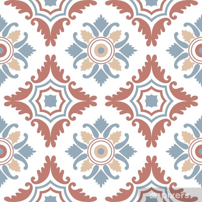 Portuguese tiles, seamless pattern. Vintage background - Victorian ceramic  tile in vector Poster