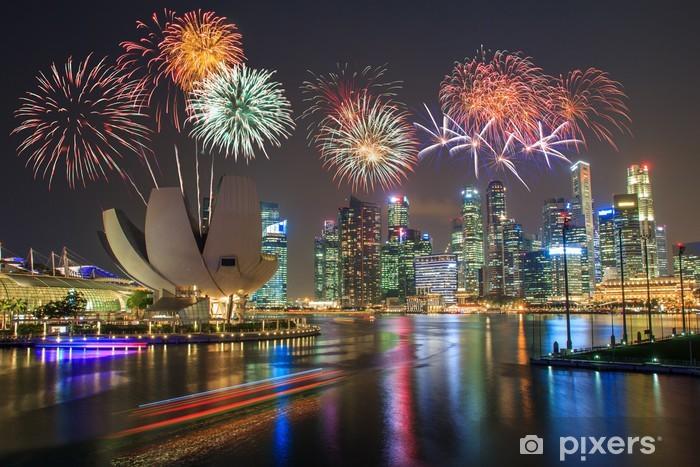 Fototapeta winylowa Fajerwerki nad zatoką Marina - Miasta azjatyckie