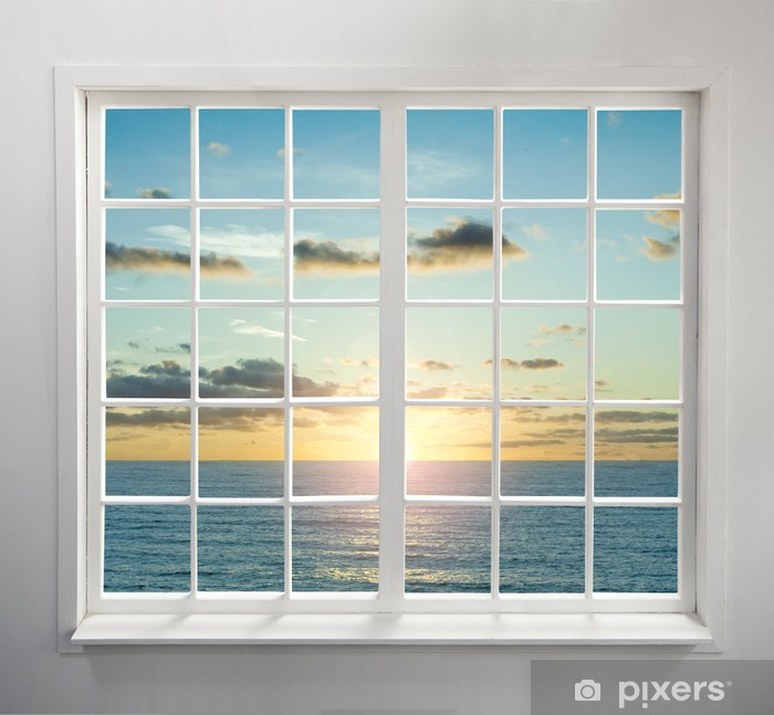 Modern residential window with sea view during sunset Vinyl Wall Mural - Seasons