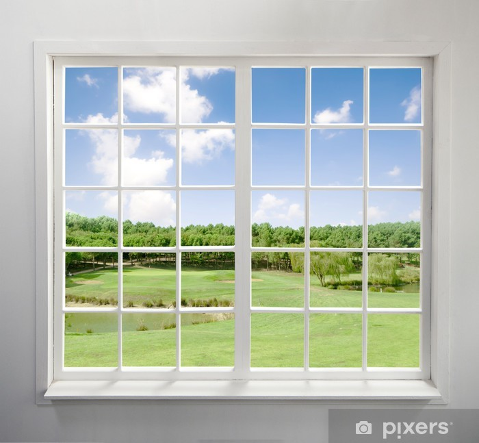 Modern residential window with lake view Vinyl Wall Mural - Home and Garden
