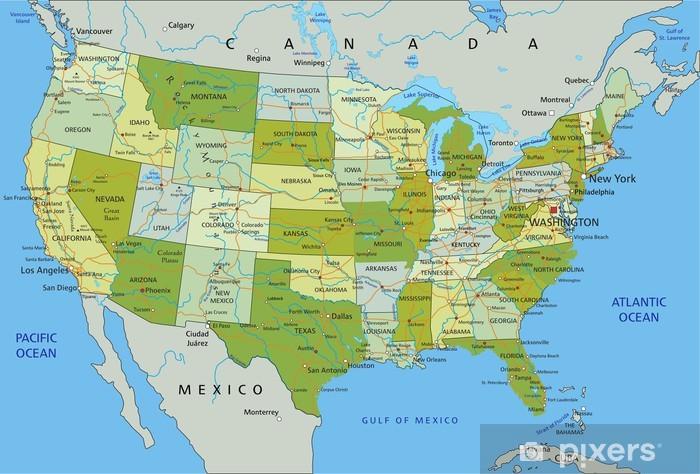 Cartina Stati Uniti D America Politica.Adesivo La Mappa Politica Modificabile Altamente Dettagliata Con Strati Separati Stati Uniti D America Pixerstick