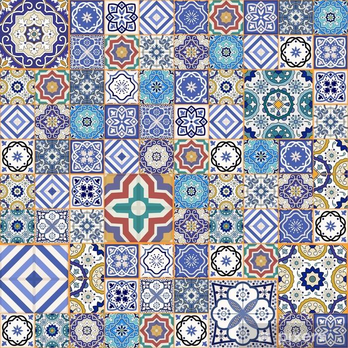 Pixerstick Sticker Mega naadloze patchwork patroon. Marokkaanse tegels, ornamenten. - Borden