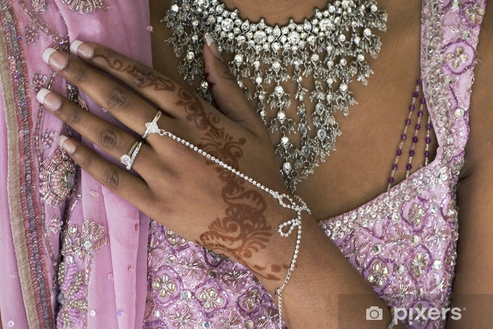 Naklejka Rękę Panny Młodej Z Henny Tatuaż I Biżuterii Indyjskie