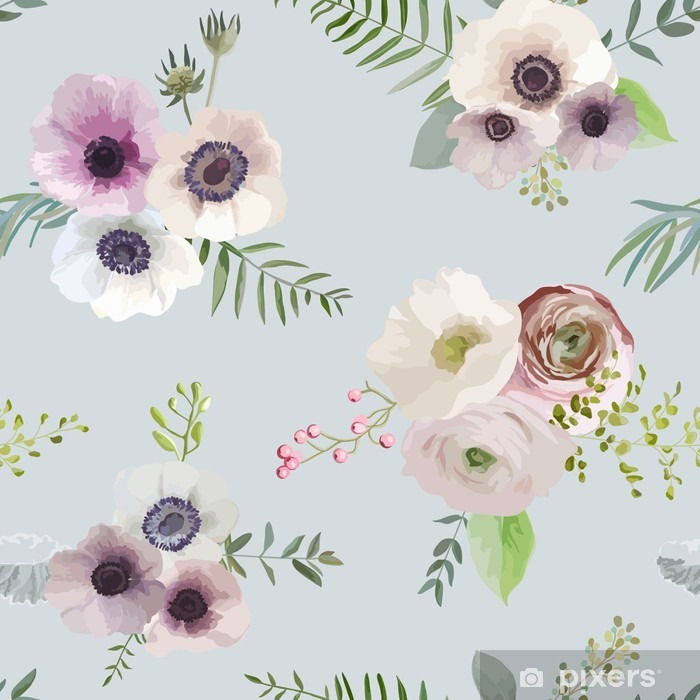 Vintage Floral Background - seamless pattern - in vector Washable Wall Mural - Graphic Resources