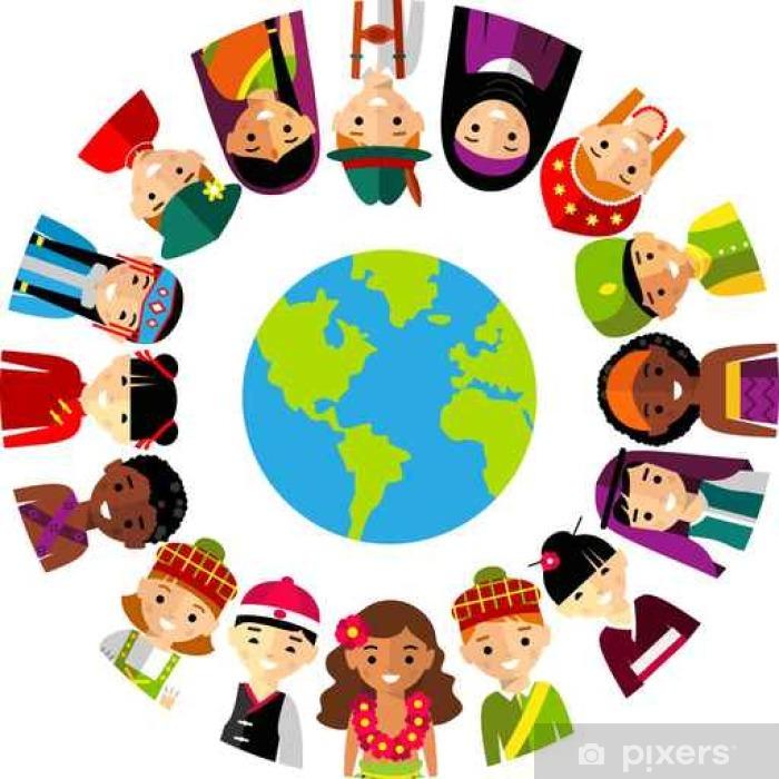 Plakat Ilustracja wektora wielokulturowym dzieci narodowych, ludzi na planecie earth__ - Ludzie