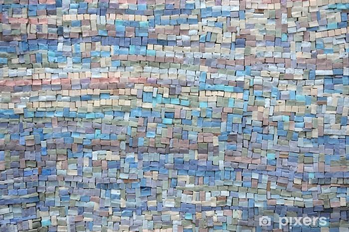 Sticker Pixerstick Vieux bleu et lilas mosaïque texture - Bâtiments et architecture
