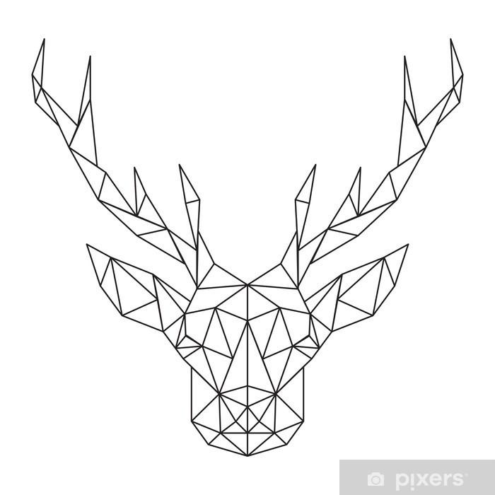 Pixerstick Sticker Polygonal hoofd van herten. Creatieve kunst icoon gestileerde -