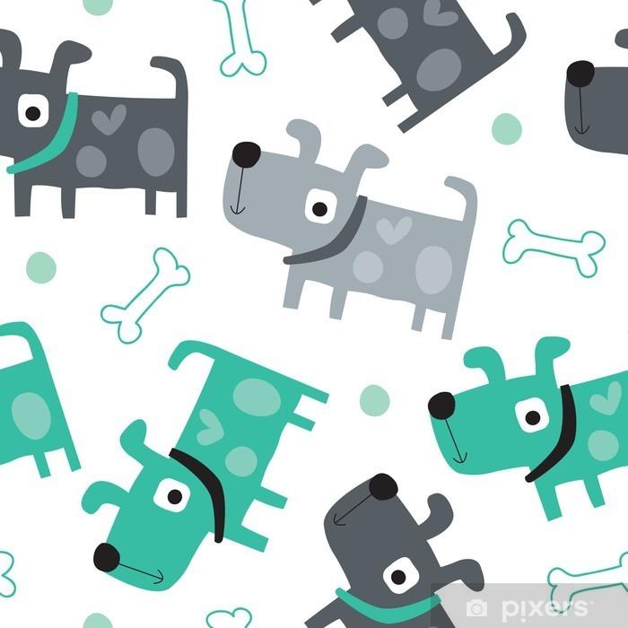 Fototapeta samoprzylepna Jednolite wzór pies - ilustracji wektorowych - Do pokoju dziecięcego