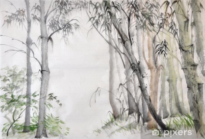Fototapeta winylowa Oryginalny obraz akwarela z bambusowego lasu na papierze ryżowym. - Krajobrazy