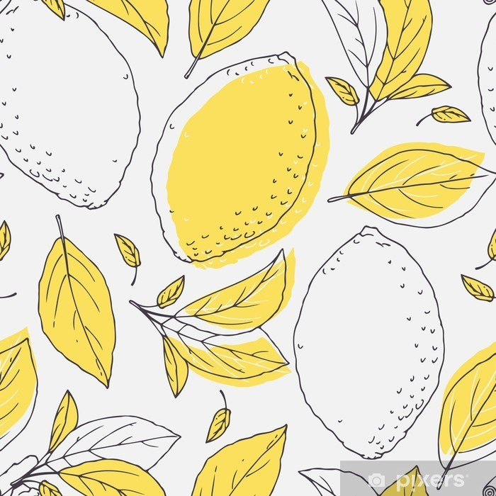 Outline seamless pattern with hand drawn lemon and leaves. Doodle fruit for package or kitchen design Vinyl Wall Mural - Graphic Resources