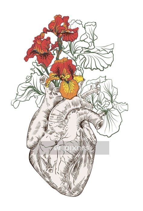 drawing Human heart with flowers Wall Decal - People