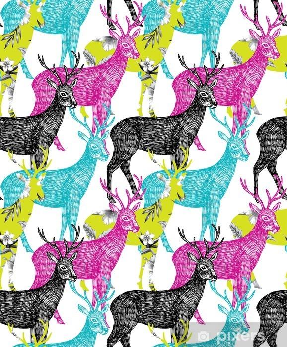 Pixerstick Aufkleber Hirsch Hand nahtlose Hintergrund gezeichnet - Tiere
