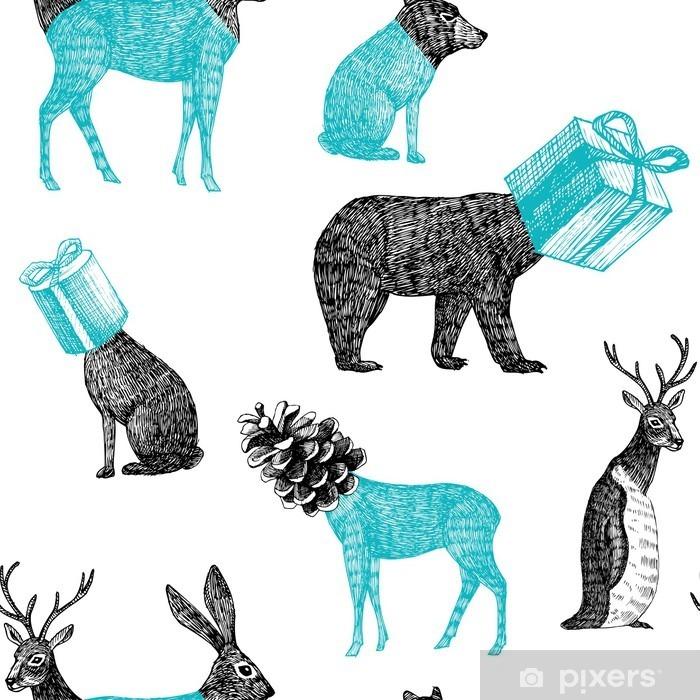 Naklejka Pixerstick Ręcznie rysowane zwierzęta zima bez szwu tła - Zwierzęta