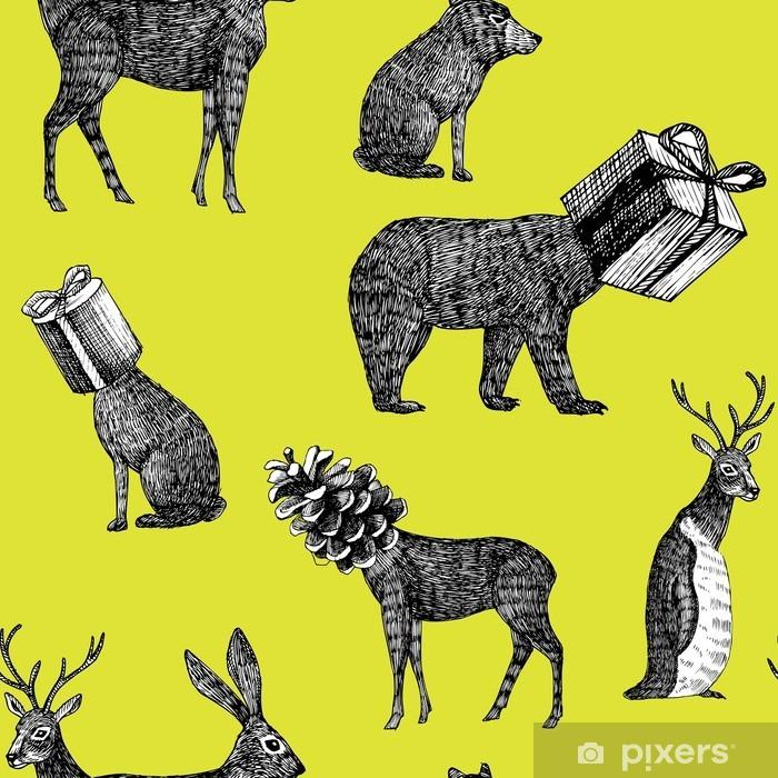 Fotomural Autoadhesivo Animales de invierno dibujados a mano de fondo sin fisuras - Animales