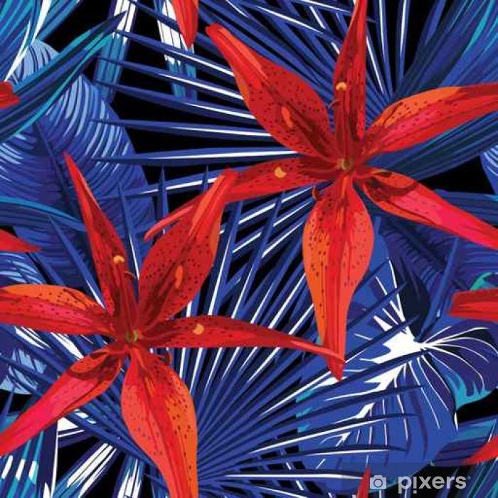 Vinilo Pixerstick Lirio y plantas tropicales de fondo sin fisuras - Plantas y flores