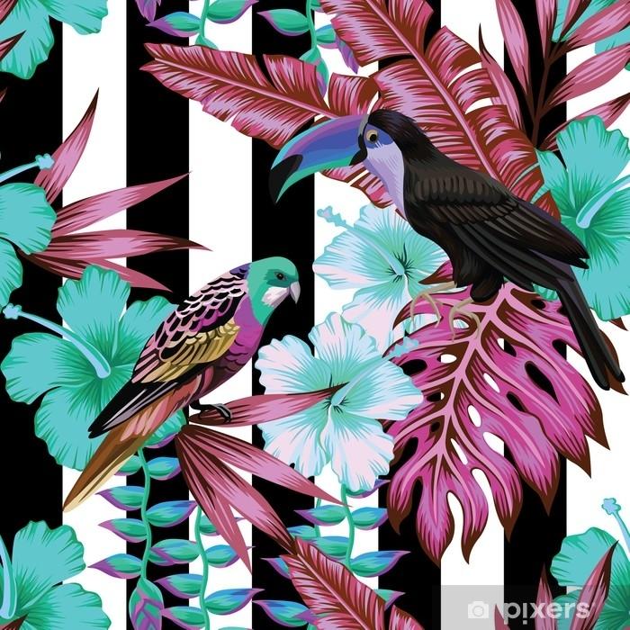 Fotomural Lavable Patrón de pájaros tropicales y flores, fondo rayado - Animales
