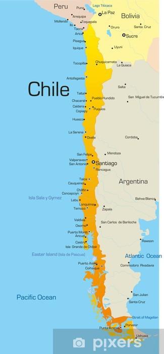 Fotomural Estándar Resumen de vectores de color mapa país Chile - Temas
