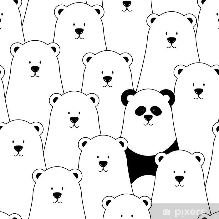 Vector seamless pattern with white polar bears and panda Self-Adhesive Wall Mural - Kids room