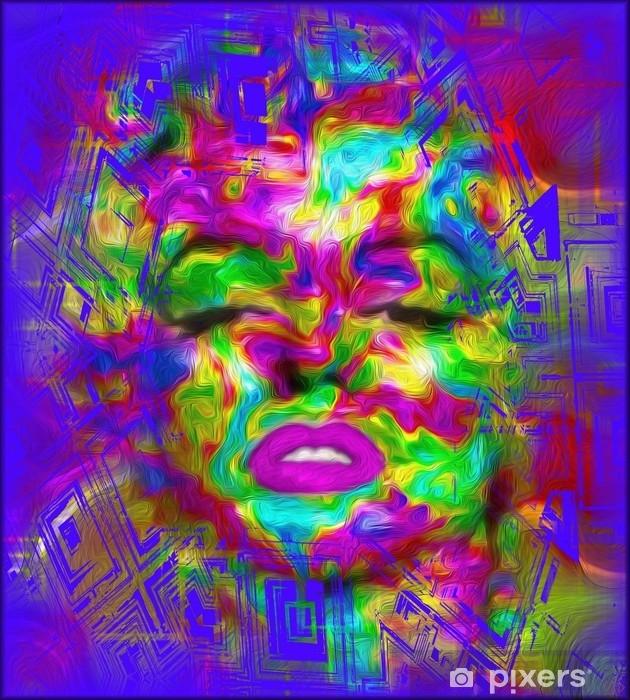 Papier peint vinyle La culture pop est l'une de nos images uniques et colorées d'art numérique abstrait d'une bombe blonde classique dans les goûts d'un style pop art marilyn. - Passe-temps et loisirs