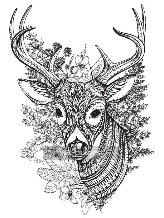 Naklejka na ścianę Wyciągnąć rękę wektor rogaty jelenia z wysokich detalach ozdoba - Zwierzęta