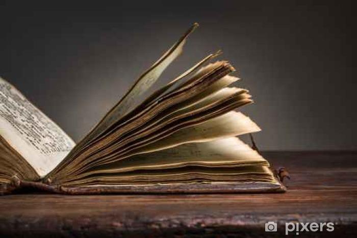 Vinilo Pixerstick Antigua Biblia Abierta En La Vieja Mesa De Madera Pixers Vivimos Para Cambiar