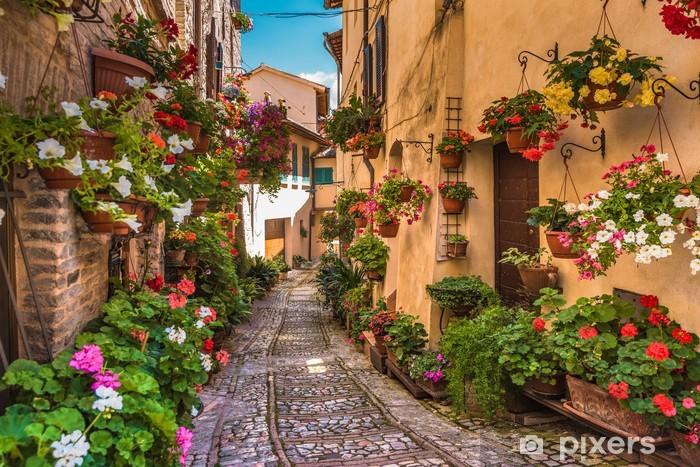 Pixerstick Sticker Bloemen op straat in het centrum van Italië, in het kleine Umbrische Middeleeuwen tot - Infrastructuur