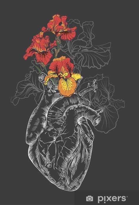 Mural De Parede Desenho Do Coracao Humano Com Flores Pixers