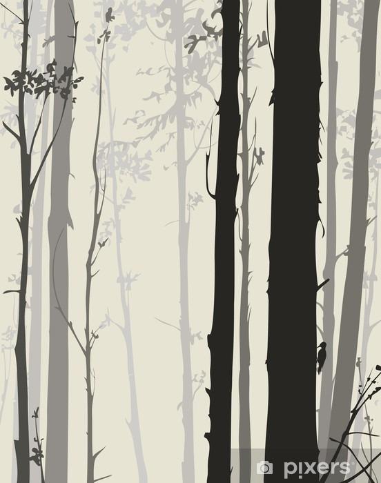 Fototapeta winylowa Sylwetka lesie - Krajobrazy