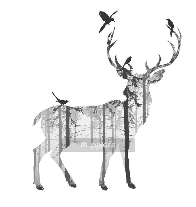 Hjort Vægklistermærke - Pattedyr
